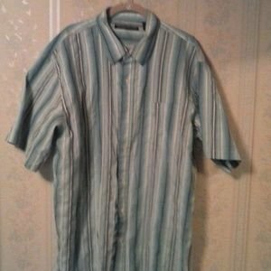 BEYOND THE LIMIT Shirts - BEYOND THE LIMIT MEN BLUE STRIPE SHORT SLEEVE SALE